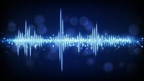 蓝色音频信号波形背景 向量例证