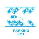 蓝色顶视图停车场设计 免版税库存照片