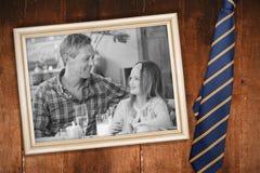 蓝色领带的综合图象与对角线的 免版税库存照片
