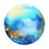 蓝色颜色五颜六色的世界,宇宙水彩绘画背景 库存图片