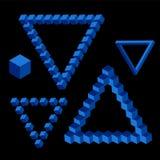 蓝色颜色传染媒介三角等量形状  免版税库存图片