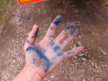 蓝色颜色手 免版税库存图片