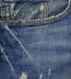 蓝色颜色牛仔布口袋纹理 库存图片