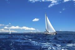 蓝色颜色黑暗的losed赛船会航行航行天空体育运动赢利地区 豪华游艇行在小游艇船坞船坞的 免版税库存图片
