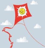 蓝色风筝天空面带笑容 免版税库存照片