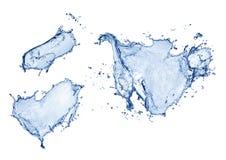 蓝色飞溅水 库存照片