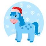 蓝色马在冬天 免版税库存照片