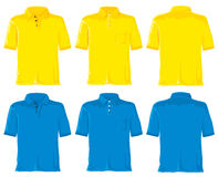 蓝色马球集合衬衣黄色 库存例证