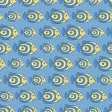 蓝色鱼无缝的样式 免版税库存图片