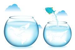 蓝色鱼跳的向量 免版税库存照片
