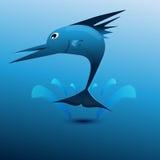 蓝色鱼跳 图库摄影