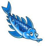 蓝色鱼,动画片 免版税库存照片