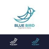 蓝色鸟徽标 库存例证