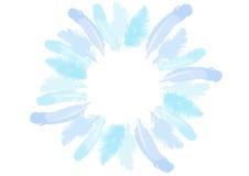 蓝色鸟羽毛  花圈边界 水彩 图库摄影