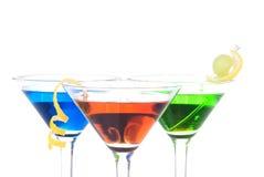 蓝色鸡尾酒五颜六色的绿色马蒂尼鸡&# 库存照片