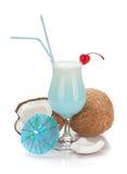 蓝色鸡尾酒椰子夏威夷 库存照片