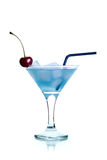 蓝色鸡尾酒马蒂尼鸡尾酒 免版税图库摄影