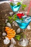 蓝色鸡尾酒 免版税图库摄影