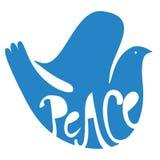 蓝色鸽子和平标志 免版税库存照片