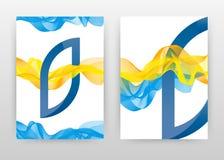 蓝色黄色挥动的线为小册子,飞行物,海报设计 蓝色B信件字母表挥动的线织地不很细背景传染媒介 库存图片