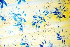 蓝色黄色星、形状和闪耀的光,抽象背景 免版税库存照片