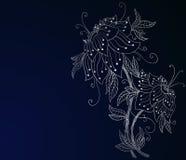 蓝色黑暗的兰花银 免版税库存照片