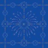 蓝色黑暗的烟花新的无缝的年 免版税库存照片