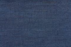 蓝色黑暗的牛仔裤纹理 牛仔布织品背景 免版税库存图片