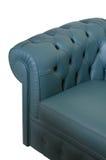 蓝色黑暗的皮革沙发 免版税库存图片