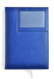 蓝色黑暗的皮革笔记本 免版税库存图片