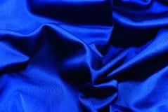 蓝色黑暗的织品丝绸 免版税库存照片
