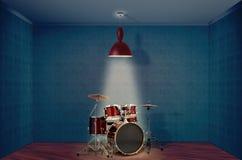 蓝色鼓工具箱 图库摄影