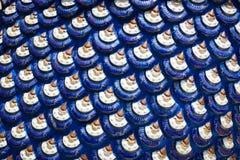 蓝色龙标度或鱼鳞纹理雕塑  库存照片