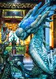 蓝色龙雕象 免版税库存图片