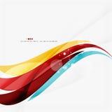蓝色,橙色,红色漩涡波浪排行 轻的设计 免版税库存照片