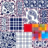 蓝色,白色,红色补缀品 纺织品拼贴画 向量例证