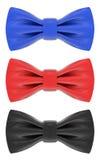 蓝色,红色和黑蝶形领结 图库摄影
