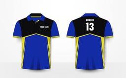 蓝色,黄色和黑体育橄榄球成套工具,球衣, T恤杉设计模板 库存图片