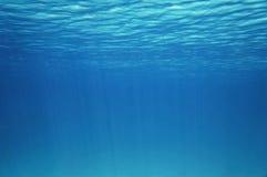 蓝色水下的表面和波纹自然场面 免版税库存图片