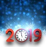 蓝色2019与红色时钟和雪的新年背景 向量例证