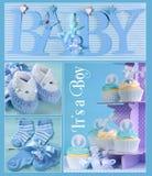 蓝色婴儿男孩拼贴画 免版税图库摄影