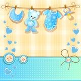 蓝色婴儿阵雨卡片 免版税库存图片