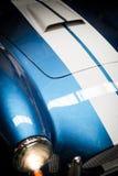 蓝色经典汽车车灯细节  库存照片