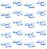 蓝色直升机 水彩无缝的样式 免版税图库摄影