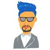 蓝色头发人漫画人物 免版税库存图片