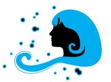 蓝色头发妇女 免版税图库摄影
