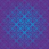蓝色洛可可式的无缝的样式 免版税库存图片