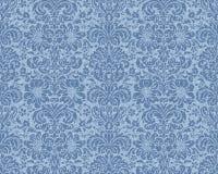 蓝色维多利亚女王时代的墙纸 免版税库存图片