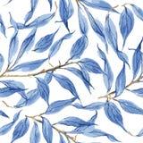 蓝色离开传染媒介水彩纹理样式 皇族释放例证