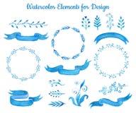 蓝色水彩丝带横幅和叶子的汇集 套设计的典雅的手拉的元素 例证 皇族释放例证